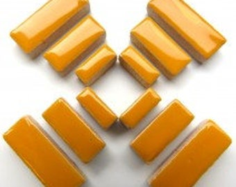 Honey Curry Yellow Glazed Ceramic RECTANGLES (3 sizes a set)//Border Tiles//Mosaic Tiles//Craft Supplies//Mosaic Pieces
