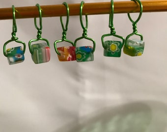 Wire wrapped, Beaded, Snag-less Stitch Markers, Millefiori cubes, Green Wire