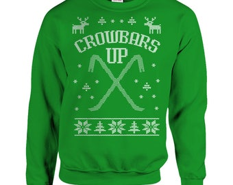 Home Alone Ugly Christmas Sweater Crowbars Up Wet Bandits Funny Movie Gift Mens Ladies Marv Harry Green Cross Stitch Unisex