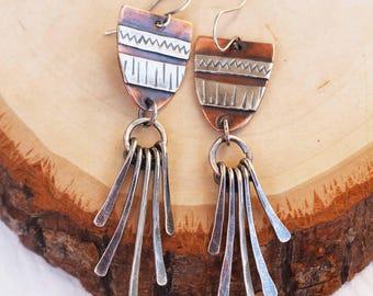 REDUCED PRICE. Tapestry Tassel Earrings, Silver & Copper