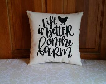 Life is Better on the Farm | Farmhouse Pillows | Rooster Pillow | Farmhouse Decor Rustic Country | Pillows with Words | Pillows with Sayings