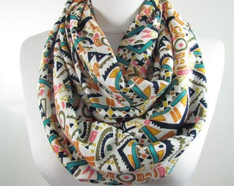 Mothers Day Gift For Her Tribal Scarf Native Circle Scarf Boho Aztec Scarf Fall Winter Infinity Scarf Fall Winter Accessories For Mom 54