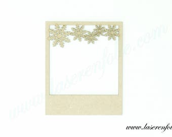 """Snowflake"" pattern photo frame type ""Polaroid"" made in medium, size 10.7 cm"