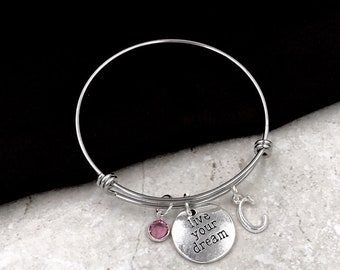Popular Live Your Dream bracelet, Inspirational Jewelry Gifts for Women and Girls, Birthday Gift, Personalized Silver Birthstone Bracelets