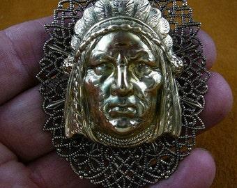 Native American Indian Chief headdress Victorian repro brass pin pendant B-Native-10