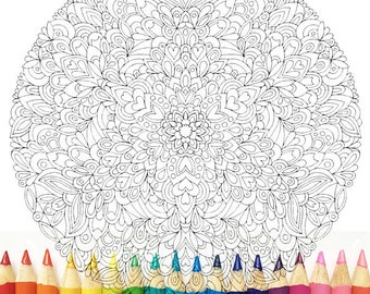 HELLO ANGEL - Detail Love Mandala Colouring Page - Angelea Van Dam, meditation relaxation calm boho inspire illustration zen zentangle