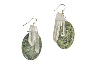 Serpentine/Quartz Wire Wrapped Handmade Earrings