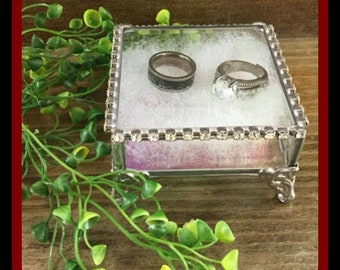 Rhinestone Trimmed Jewelry Box Glass Box Ring Bearer Pillow Alternative Wedding Engagement Ring Box Gift For Her Gift For Mom 3x3x2