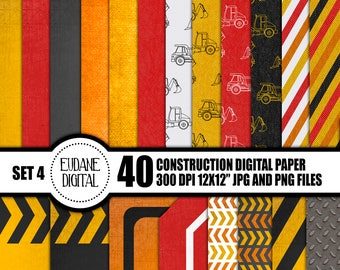 Construction Digital Paper Pack - 40 files - 12x12 Scrapbooking Paper - Instant Download (SET4)