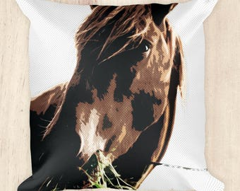 Square Half Tone Horse Pillow~Horse Lover~Pony on a Pillow~Gifts for Her~Equestrian Gifts~Throw Pillow~Animal Pillow~18 in. Square Pillow