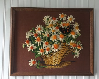 Vintage Crewel, Framed Crewel, Daisy Crewel, Floral Crewel, Flower Crewel, Butterfly Crewel, Yarn Art, Wall Hanging, Vintage Decor