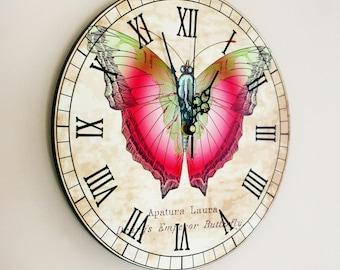 "Butterfly Wall Clock - Vintage Butterfly 11"""