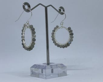 Labradorite Earrings // Handmade // Hoop Earrings // Gemstone Earrings
