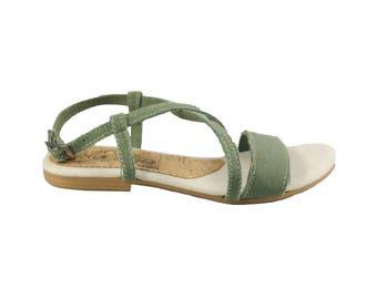 Women's Vegan Sandal  - Ginevra Green - Bella Storia Vegan Shoes