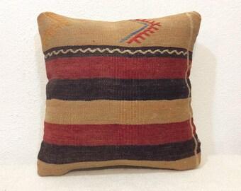 "Kilim pillow cover 16"" x 16"" 40x40cm,Vintage,Handmade,Handwoven,Old kilim,Gray,Home Decor,Turkish Kilim"