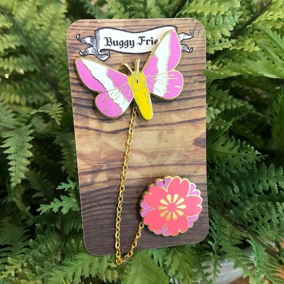 My pet bug- Rosey maple moth and sakura flower lapel pin set!