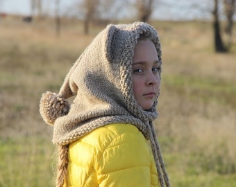 Bear Hooded Cowl Hooded Scarf Adult Hooded Cowl Animal Hooded Scarf Kids Hooded cowl oversized scarf hooded cowl scarf knit hooded cowl