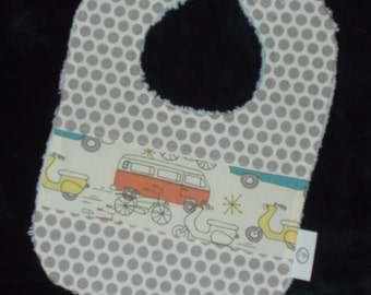 Retro Cars and Dots Chenille Bib - Organic