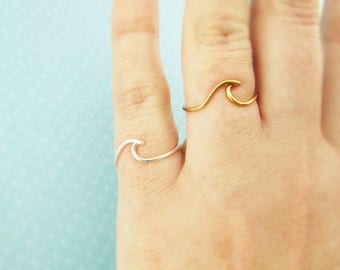 Wave Ring, Surf Ring, Beach Ring, Sterling or 14K Gold Filled, Beach Wave, Beach Jewelry, Surf Jewelry, Simple Silver Ring, Beach Wedding