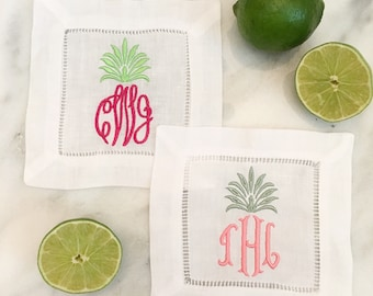 Pineapple Monogrammed Linen Cocktail Napkin - Monogram Linen - Monogrammed Pineapple - Bar Cart - Hostess Gift - Housewarming Gift - Preppy