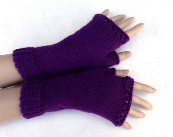 knit fingerless gloves, knitted fingerless mittens, knit purple arm warmers,  hand warmers, women men gloves, spring accessories