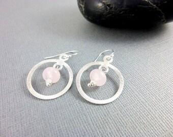 Rose Quartz Chakra Earrings, Brushed Sterling Silver Hoops, Heart Chakra, Pink Gemstone Earrings, Pantone 2016, Chakra Energy Jewelry