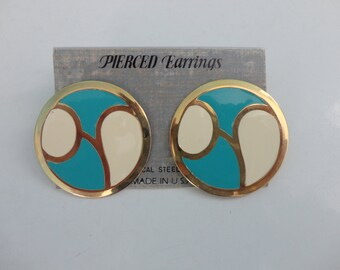 VINTAGE turquoise ivory gold circle POST EARRINGS