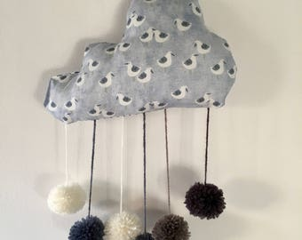 Hanging cloud mobile, with tassels, pattern seagulls rain