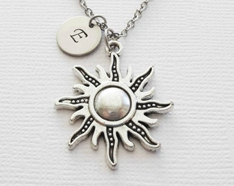 Sun Initial Necklace Sunshine Solar System Celestial Planet Large Sun Charm Universe Silver Jewelry Personalized Monogram Hand Stamped