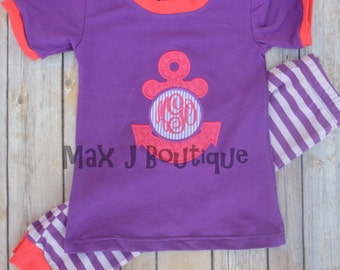 Personalized Applique Children Pajamas -  Monogrammed Anchor PJs - Personalized Girl Pajamas