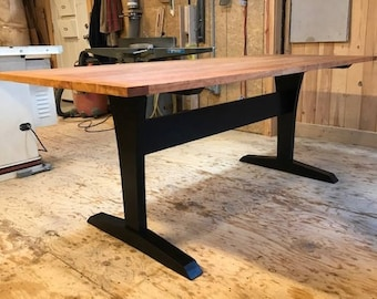 Cherry Trestle Table with Painted Base