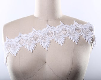 "White Venice Lace Trim/ White Cotton Lace Trim Impressively Beautiful 4"" White Venise Lace / Point De Venise"