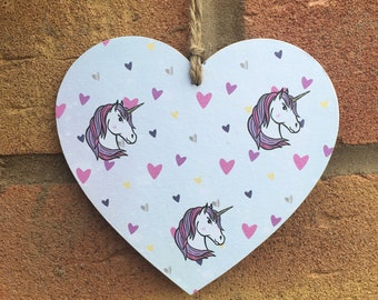 Mystical unicorn wooden hanging Heart handcrafted 10cm