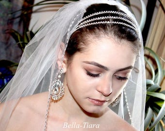 triple row rhinestone headband, crystal headband for prom, prom headband, rhinestone wedding headband, bridal rhinestone headband