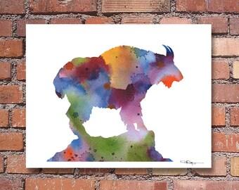 Mountain Goat - Art Print - Abstract Watercolor Painting - Animal Art - Wall Decor