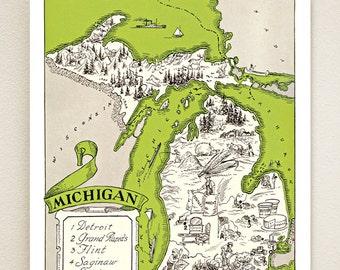 MICHIGAN MAP PRINT - picture map print - personalized map - wedding gift idea - cottage wall art - coastal artwork - beach house print
