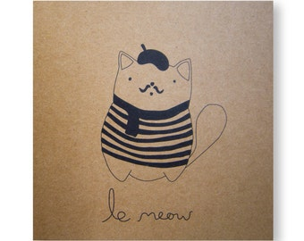 Cerise the Cat Illustrated Card, Cat Card, Handmade Greeting Card, French Cat, Le Meow