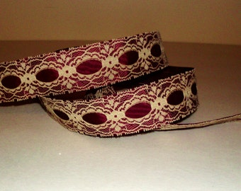 Vintage Maroon Ribbon Lace trim, Scrapbooking Trim, Wedding Trim, 1 1/2 inch wide, 10 yards, Victorian trim  L3005