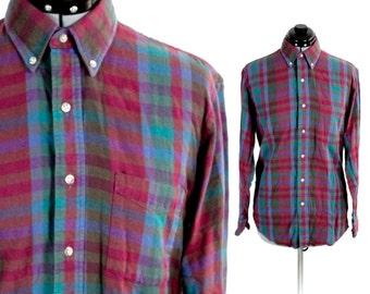 Vintage REI Redish Flannel Longsleeve Polo Medium