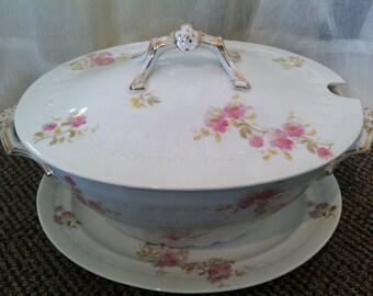 Antique M. Redon Limoges Soup Tureen and Serving Platter
