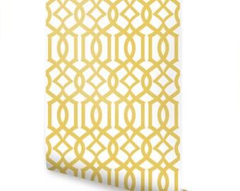 Modern Trellis Custard Yellow Peel & Stick Fabric Wallpaper Repositionable