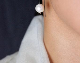 Large Freshwater Cream Pearl Oxidized Sterling Silver Dangle Earrings / June Birthstone / Minimalist Bridal Jewelry /GUGMA Women's