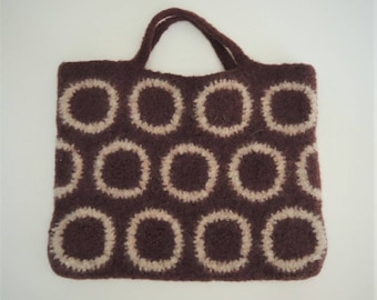 Crocheted Felted Bag (Circle Brown + Beige)