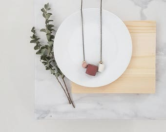 Isla Necklace |  Geometric trio  |  Deep rose & Ivory
