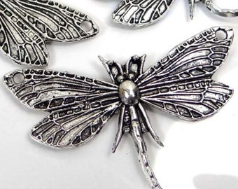 5 Silver Pewter Dragonfly Focal Link Pendant 30x49mm (p193)