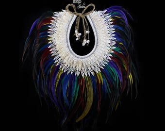 """Rainbow Colored Feather,Shell & Bead Necklace Exceptionally Large 27x23"""" Handmade Papua Tribal Inspired For Luxe Home Deco Exquisite Design"""
