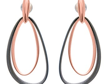 Rose gold and oxidized sterling silver earrings