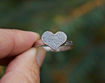 Fingerprint Ring, Fingerprint Heart Ring, Finger print Ring, Fingerprints, Personalized Ring, Fingerprint Jewelry, Memorial Jewelry