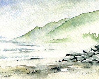 Beach Landscape Painting Original Watercolor