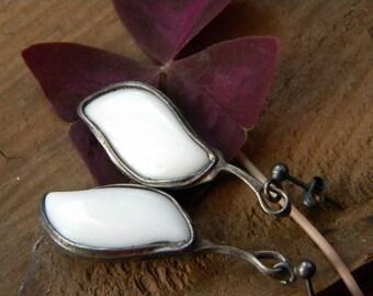 White glass leaf earrings